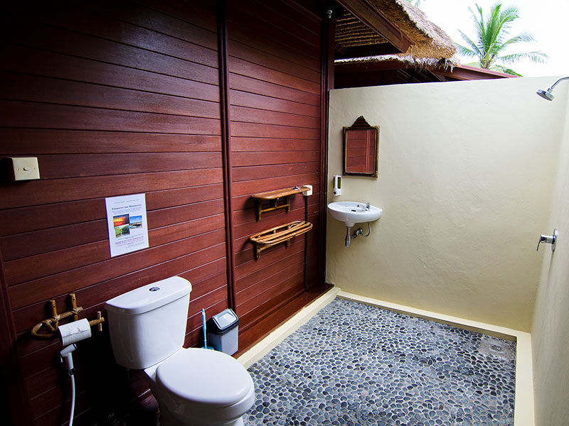 Private Bathroom with Open Air Hot Shower