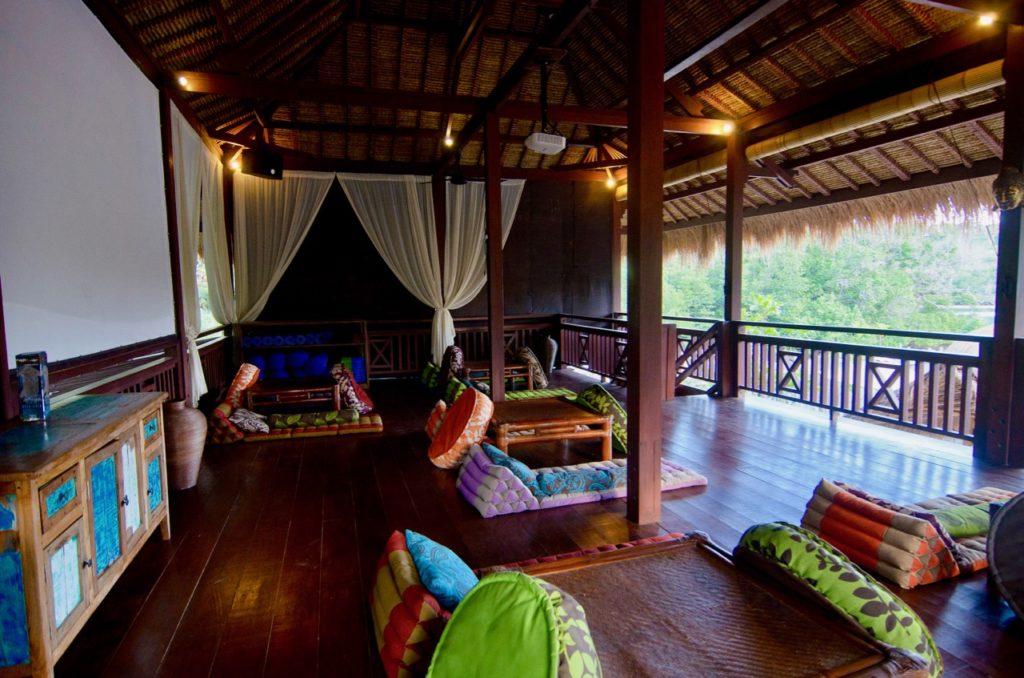 Ceningan Resort lounge and movie screen