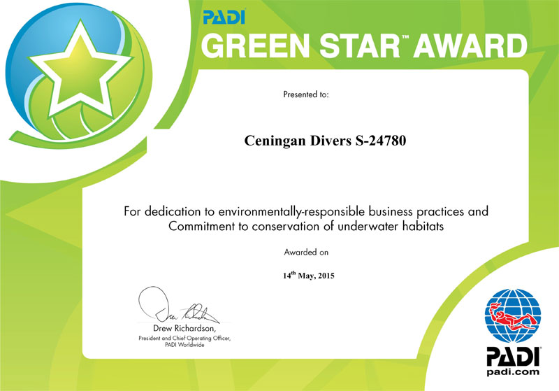 ceningan divers green star award certificate ceningan resort