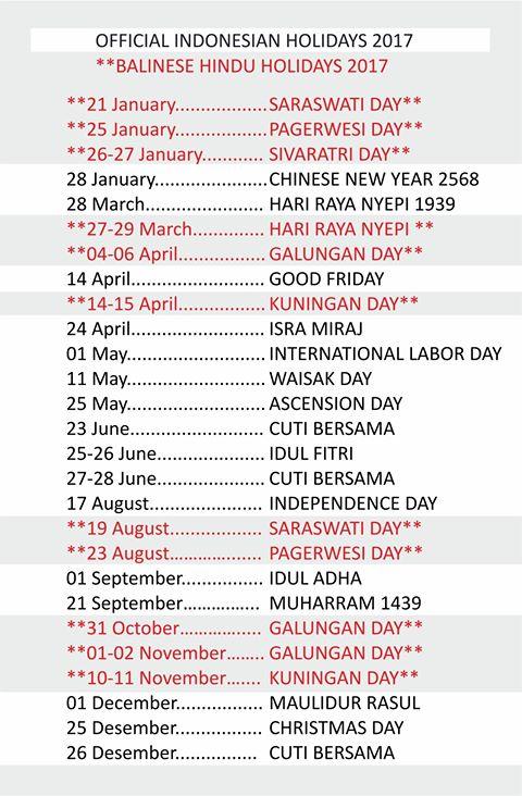Balinese Holidays 2017